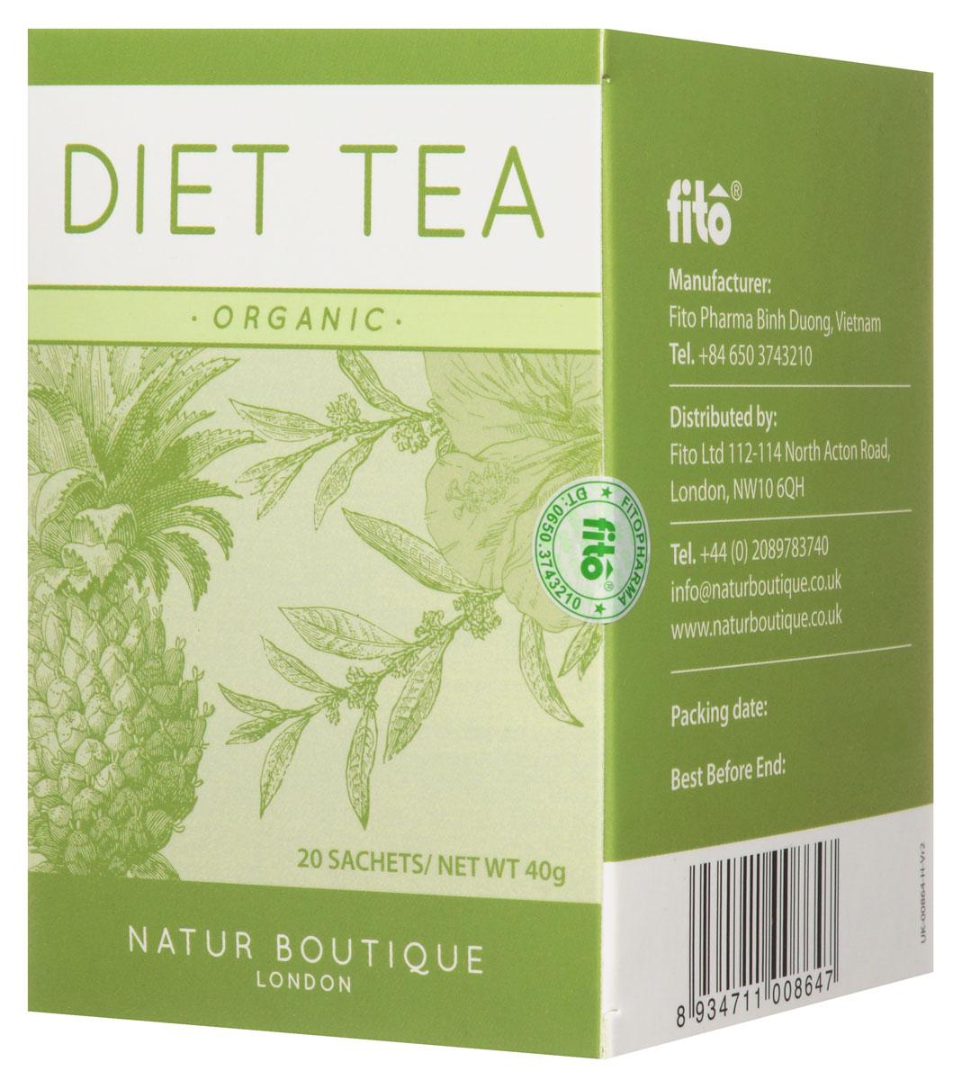 Natur Boutique Diet Organic Tea органический чай диетический, 20 пакетиков251Зеленый чай Natur Boutique Diet Organic Tea помогает похудеть за счет ускорения обмена веществ, регулирования уровня глюкозы, снижения аппетита и улучшения сжигания жиров. Ортосифон имеет мягкое калийсберегающее мочегонное действие, и, таким образом, способствует безопасному похудению. Ананас, благодаря содержанию бромелайна, ускоряет обмен веществ, выводит из организма токсины, делает мочегонное и противовоспалительное действие. Гибискус (каркаде) обладает антиоксидантным, мягким мочегонным и слабительным действием, а также укрепляет сосуды и нормализует пищеварение. Состав: органический зеленый чай, трава органического ортосифона, плоды органического ананаса, цветы органического гибискуса. Органический чай на основе зеленого чая, ортосифона, ананаса и гибискуса удивит приятным фруктовым вкусом и поможет на пути к стройной фигуре. Все растения, входящие в состав чая, выращены без использования синтетических пестицидов и минеральных удобрений на лучших плантациях...