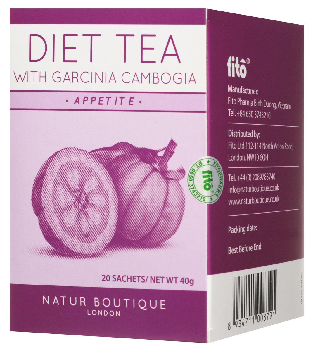 Natur Boutique Diet Tea With Garcinia Cambogia Organic Tea органический зеленый чай с гарцинией камбоджийской, 20 пакетиков257Чай Natur Boutique Diet Tea With Garcinia Cambogia Organic Tea сочетает в себе один из самых эффективных травяных наборов для похудения, включающий в себя гарцинию камбоджийскую. Этот цитрус применяется для похудения и понижение аппетита. Этот чай сочетает в себе четыре ингредиента, которые взаимодополняют друг друга для похудения. Гарциния камбоджийская содержит особые вещества в кожуре, которые препятствуют жировым отложениям. Зеленый чай известен своей способностью сжигать калории. Ортосифон помогает в очистке организме от шлаков через мочегонную систему. Также в состав включена солодка, чтобы не было необходимости добавлять сахар.