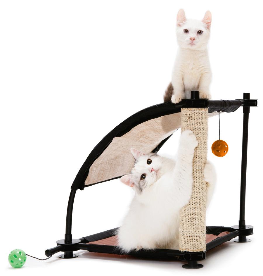 Игровой комплекс для кошек Kitty City Белая гора, 44 х 45 х 45 см23059Игровой комплекс для кошек Kitty City Белая гора обязательно понравится вашему пушистому питомцу. Комплекс изготовлен из высокопрочных, устойчивых к повреждениям материалов. Каркас из пластиковых трубок удобно собирается и разбирается, облегчая транспортировку и хранение. На каркас натянут прочный текстиль. Имея форму горки, комплекс позволяет играть животным как в одиночестве, так и друг с другом. Устойчивая конструкция позволяет удобно разместиться двум кошкам, не стесняя друг друга. Комплекс открыт со всех сторон, и поэтому вы легко найдете для него место в доме. Прекрасно подходит как для игры, так и для отдыха. Когтеточка на долгое время отвлечет питомца от мягкой мебели и обоев, а подвесные игрушки в форме шариков смогут занять время кошки, пока она находится дома в одиночестве. Комплекс подходит для использования изолированно и в совокупности с другими игровыми комплексами Kitty City.