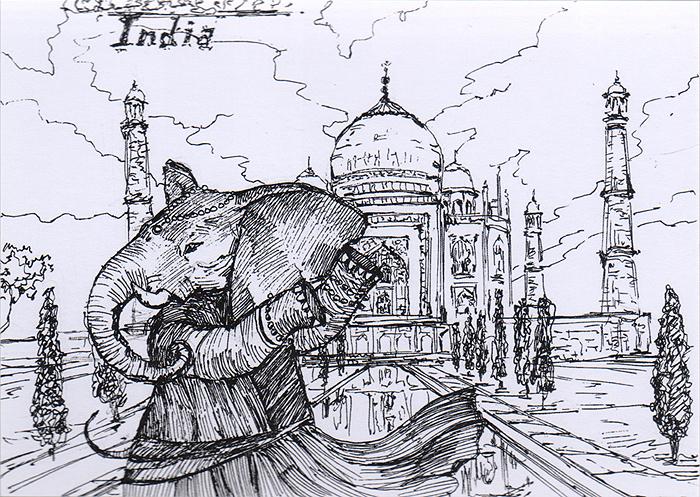 Открытка Animals countries. Индия739Дизайнерская открытка. Дизайнерская открытка. На лицевой стороне изображение слона на фоне Тадж Махала. Набросок, скетч. Автор рисунка - Анастасия Панкова. Размер открытки: 10.5 х 15 см.
