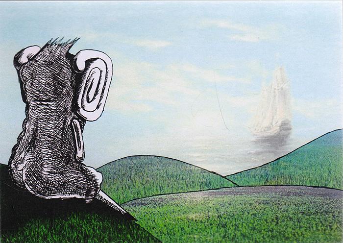 Открытка ОжиданиеОКВДизайнерская открытка. На лицевой стороне изображение парусника. Набросок включает себя скетч и элементы компьютерной графики. Автор рисунка - Роман Рощин. Размер открытки: 10.5 х 15 см.