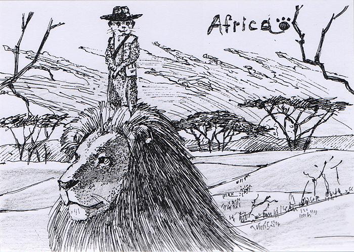 Открытка Animals countries. АфрикаОКВДизайнерская открытка. Дизайнерская открытка. На лицевой стороне изображение мангуста и льва на фоне африканской саванны. Набросок, скетч. Автор рисунка - Анастасия Панкова. Размер открытки: 10.5 х 15 см.