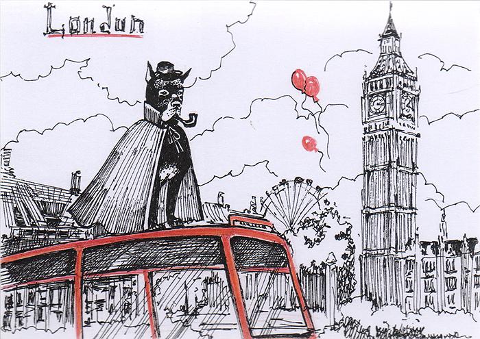 Открытка Animals сountries. АнглияОКВДизайнерская открытка. На лицевой стороне изображение дога на фоне достопримечательностей Лондона. Набросок, скетч. Автор рисунка - Анастасия Панкова. Размер открытки: 10.5 х 15 см.