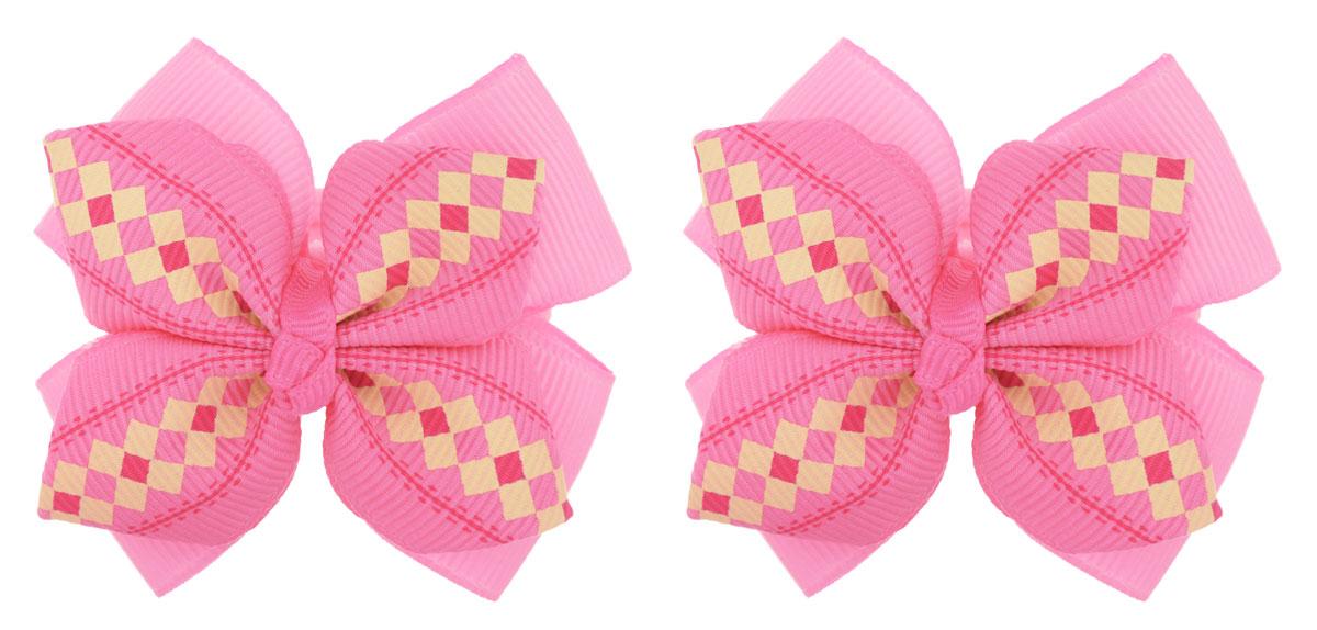 Baby's Joy Резинка для волос Бантик в клетку цвет розовый 2 шт