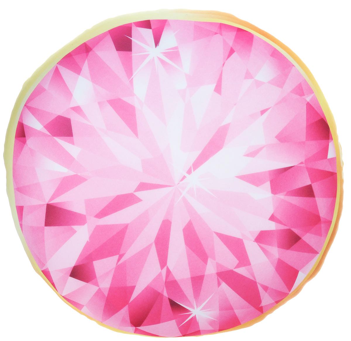 Подушка-антистресс Home Queen Диамант, круглая, цвет: розовый, желтый, 30 х 30 см66622_розовый/жёлтыйКруглая подушка-антистресс Home Queen Диамант - это не только лучший способ снять напряжение, но и оригинальный аксессуар для интерьера. Изделие пластичное и приятное на ощупь. Чехол из трикотажной ткани (15% полиуретан, 85% нейлон) оформлен ярким изображением алмаза. Внутри - антистрессовый полистироловый наполнитель. Подушка-антистресс - идеальный рецепт хорошего настроения и здорового сна! Она подарит тактильную радость и станет аккумулятором хорошего настроения.