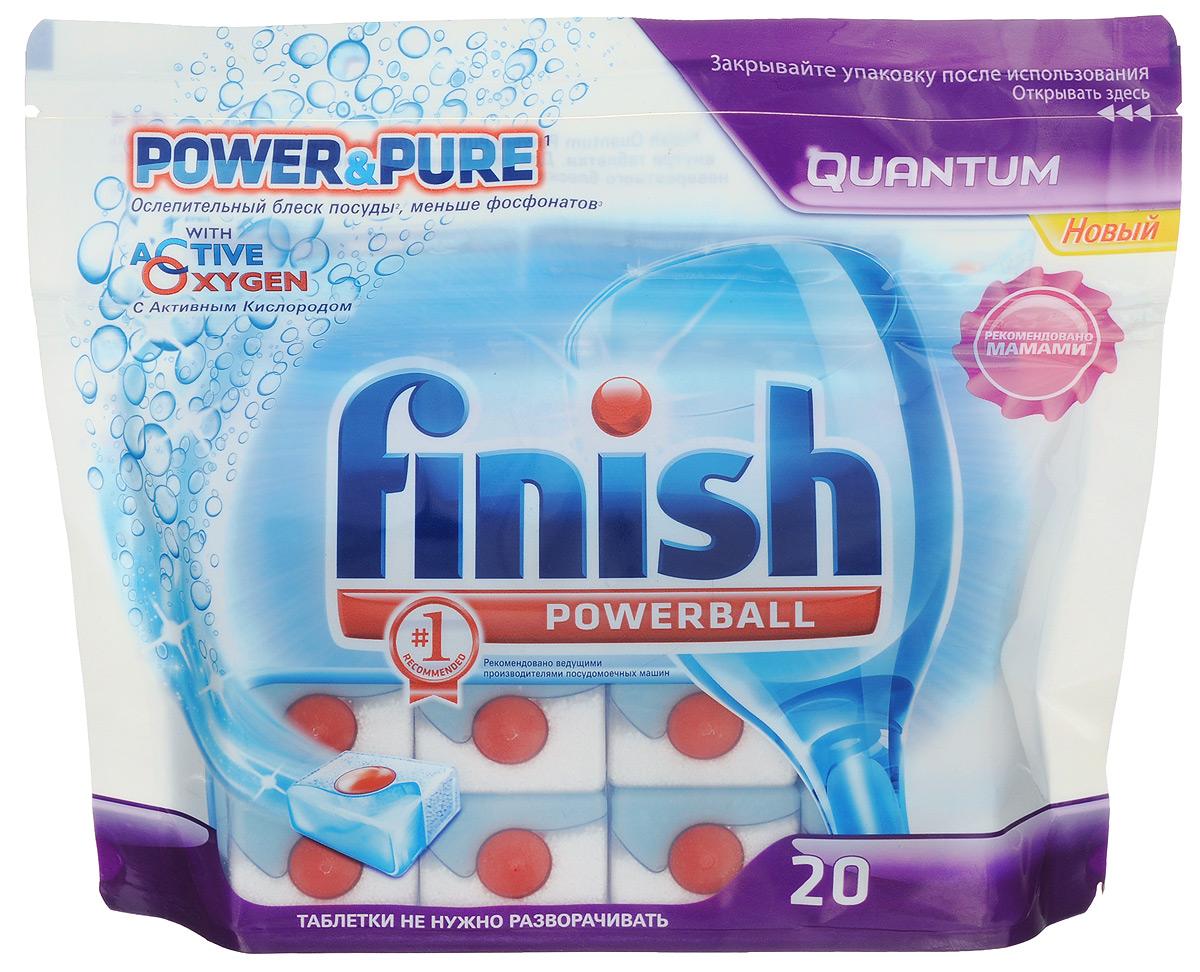 Таблетки для посудомоечной машины Finish Quantum Powerball Power&Pure, 20 шт8168799Таблетки Finish Quantum Powerball Power&Pure - высокоэффективное средство для расщепления сложных пищевых загрязнений. Это великолепное сияние и чистота всей вашей посуды. Уникальный красный шар Powerball обладает моментальным действием, размягчая засохшие остатки пищи на посуде, а активные моющие компоненты вымывают частицы загрязнения и удаляют любые пятна. Растворяясь, таблетка формирует пузырьки, которые доставляют активные реагенты для глубокого очищения посуды в места загрязнений. Функций таблеток: - удаляют сложные загрязнения, - функция смягчения воды, - функция ополаскивания для блеска посуды, - удаляют чайный налет, - эффективное расщепление жира, - предотвращение образования накипи. Товар сертифицирован.