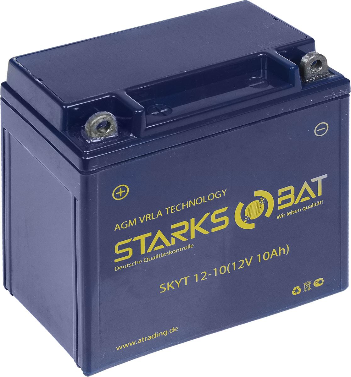 Батарея аккумуляторная для мотоциклов Starksbat. YT 12-10 (YB9A-A)YT 12-10Аккумулятор Starksbat изготовлен по технологии AGM, обеспечивающей повышенный уровень безопасности батареи и удобство ее эксплуатации. Корпус выполнен из особо ударопрочного и морозостойкого полипропилена. Аккумулятор блестяще доказал свои высокие эксплуатационные свойства в самых экстремальных условиях бездорожья, высоких и низких температур. Аккумуляторная батарея Starksbat производится под знаменитым немецким контролем качества, что обеспечивает ему высокие пусковые характеристики и восстановление емкости даже после глубокого разряда. Напряжение: 12 В. Емкость: 10 Ач. Полярность: прямая (+ -). Ток холодной прокрутки: 135 Аh (EN).