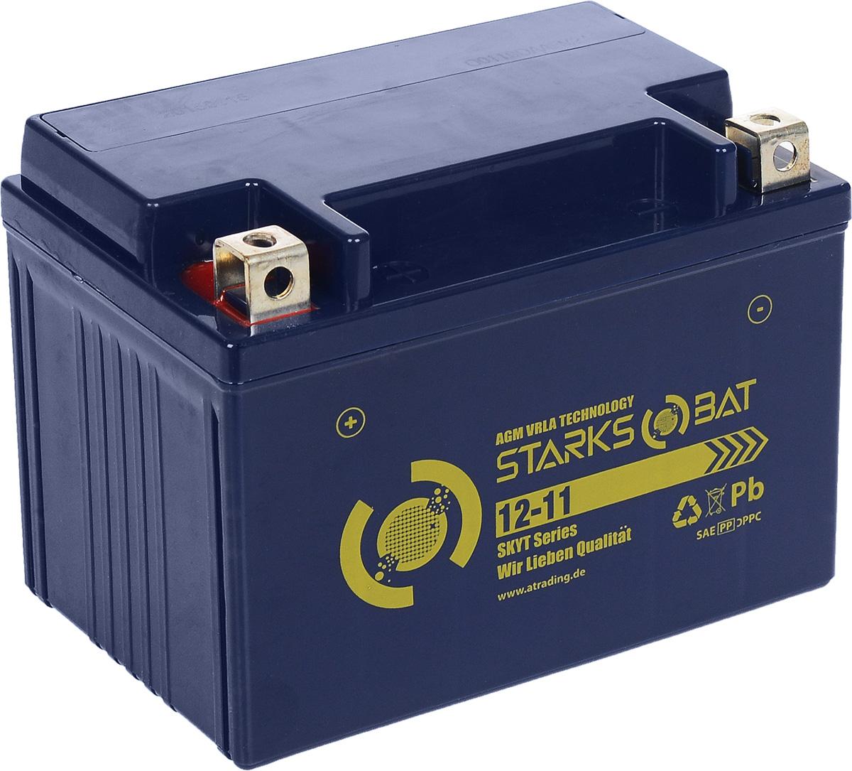 Батарея аккумуляторная для мотоциклов Starksbat. YT 12-11 (YTZ12S)YT 12-11Аккумулятор Starksbat изготовлен по технологии AGM, обеспечивающей повышенный уровень безопасности батареи и удобство ее эксплуатации. Корпус выполнен из особо ударопрочного и морозостойкого полипропилена. Аккумулятор блестяще доказал свои высокие эксплуатационные свойства в самых экстремальных условиях бездорожья, высоких и низких температур. Аккумуляторная батарея Starksbat производится под знаменитым немецким контролем качества, что обеспечивает ему высокие пусковые характеристики и восстановление емкости даже после глубокого разряда. Напряжение: 12 В. Емкость: 11 Ач. Полярность: прямая (+ -). Ток холодной прокрутки: 137 Аh (EN).