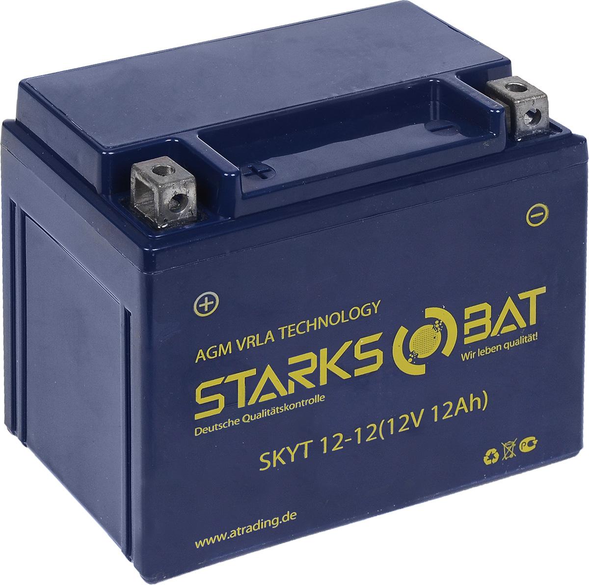 Батарея аккумуляторная для мотоциклов Starksbat. YT 12-12 (YTX14-BS)YT 12-12Аккумулятор Starksbat изготовлен по технологии AGM, обеспечивающей повышенный уровень безопасности батареи и удобство ее эксплуатации. Корпус выполнен из особо ударопрочного и морозостойкого полипропилена. Аккумулятор блестяще доказал свои высокие эксплуатационные свойства в самых экстремальных условиях бездорожья, высоких и низких температур. Аккумуляторная батарея Starksbat производится под знаменитым немецким контролем качества, что обеспечивает ему высокие пусковые характеристики и восстановление емкости даже после глубокого разряда. Напряжение: 12 В. Емкость: 12 Ач. Полярность: прямая (+ -). Ток холодной прокрутки: 155 Аh (EN).