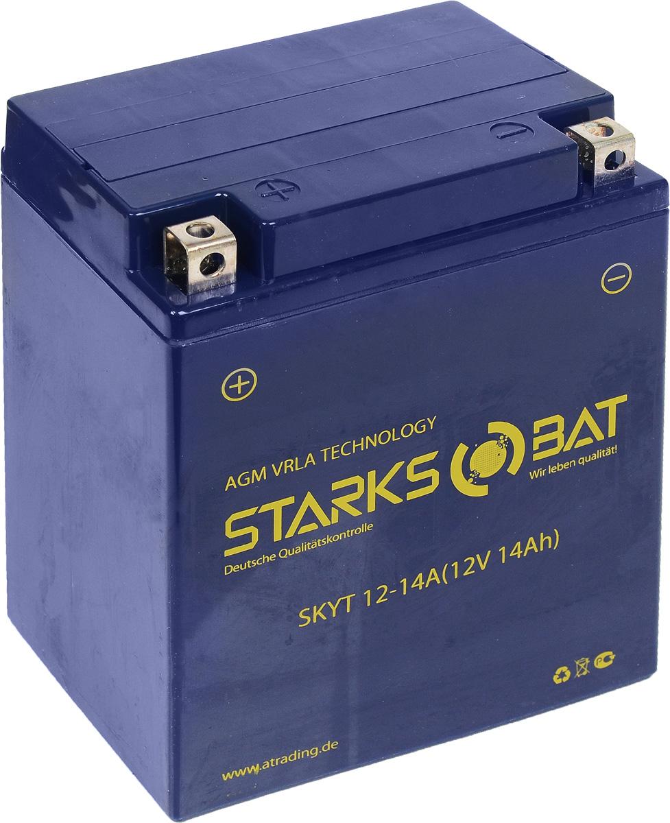 Батарея аккумуляторная для мотоциклов Starksbat. YT 12-14A (YB14A-A2)YT 12-14AАккумулятор Starksbat изготовлен по технологии AGM, обеспечивающей повышенный уровень безопасности батареи и удобство ее эксплуатации. Корпус выполнен из особо ударопрочного и морозостойкого полипропилена. Аккумулятор блестяще доказал свои высокие эксплуатационные свойства в самых экстремальных условиях бездорожья, высоких и низких температур. Аккумуляторная батарея Starksbat производится под знаменитым немецким контролем качества, что обеспечивает ему высокие пусковые характеристики и восстановление емкости даже после глубокого разряда. Напряжение: 12 В. Емкость: 14 Ач. Полярность: прямая (+ -). Ток холодной прокрутки: 180 Аh (EN).