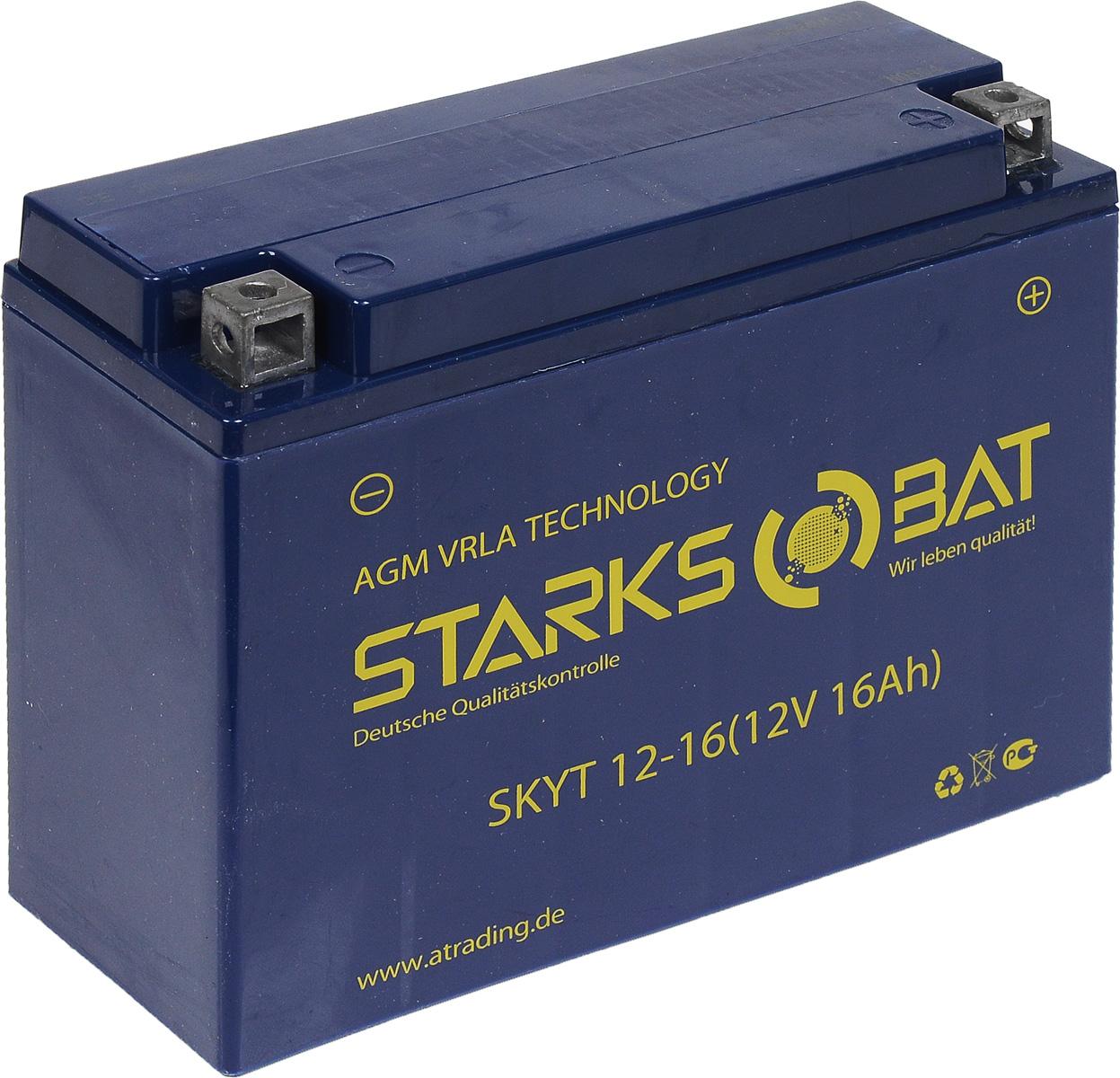 Батарея аккумуляторная для мотоциклов Starksbat. YT 12-16 (YB16AL-A2)YT 12-16Аккумулятор Starksbat изготовлен по технологии AGM, обеспечивающей повышенный уровень безопасности батареи и удобство ее эксплуатации. Корпус выполнен из особо ударопрочного и морозостойкого полипропилена. Аккумулятор блестяще доказал свои высокие эксплуатационные свойства в самых экстремальных условиях бездорожья, высоких и низких температур. Аккумуляторная батарея Starksbat производится под знаменитым немецким контролем качества, что обеспечивает ему высокие пусковые характеристики и восстановление емкости даже после глубокого разряда. Напряжение: 12 В. Емкость: 16 Ач. Полярность: обратная (- +). Ток холодной прокрутки: 200 Аh (EN).