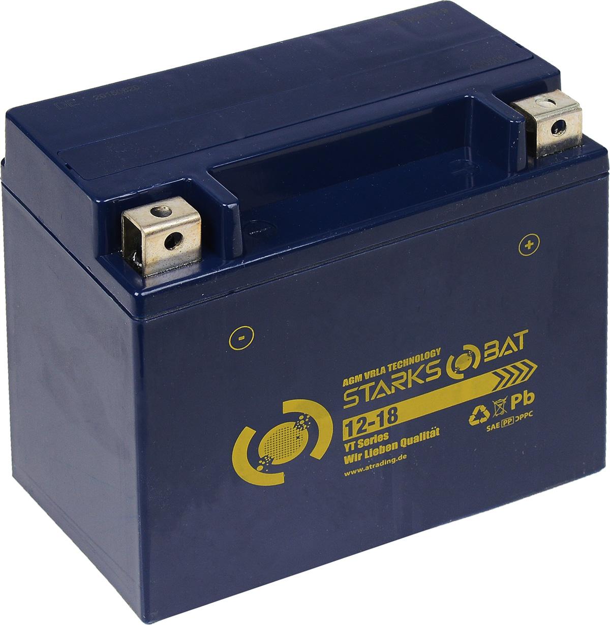 Батарея аккумуляторная для мотоциклов Starksbat. YT 12-18 (YTX20L-BS)YT 12-18Аккумулятор Starksbat изготовлен по технологии AGM, обеспечивающей повышенный уровень безопасности батареи и удобство ее эксплуатации. Корпус выполнен из особо ударопрочного и морозостойкого полипропилена. Аккумулятор блестяще доказал свои высокие эксплуатационные свойства в самых экстремальных условиях бездорожья, высоких и низких температур. Аккумуляторная батарея Starksbat производится под знаменитым немецким контролем качества, что обеспечивает ему высокие пусковые характеристики и восстановление емкости даже после глубокого разряда. Напряжение: 12 В. Емкость: 18 Ач. Полярность: обратная (- +). Ток холодной прокрутки: 230 Аh (EN).