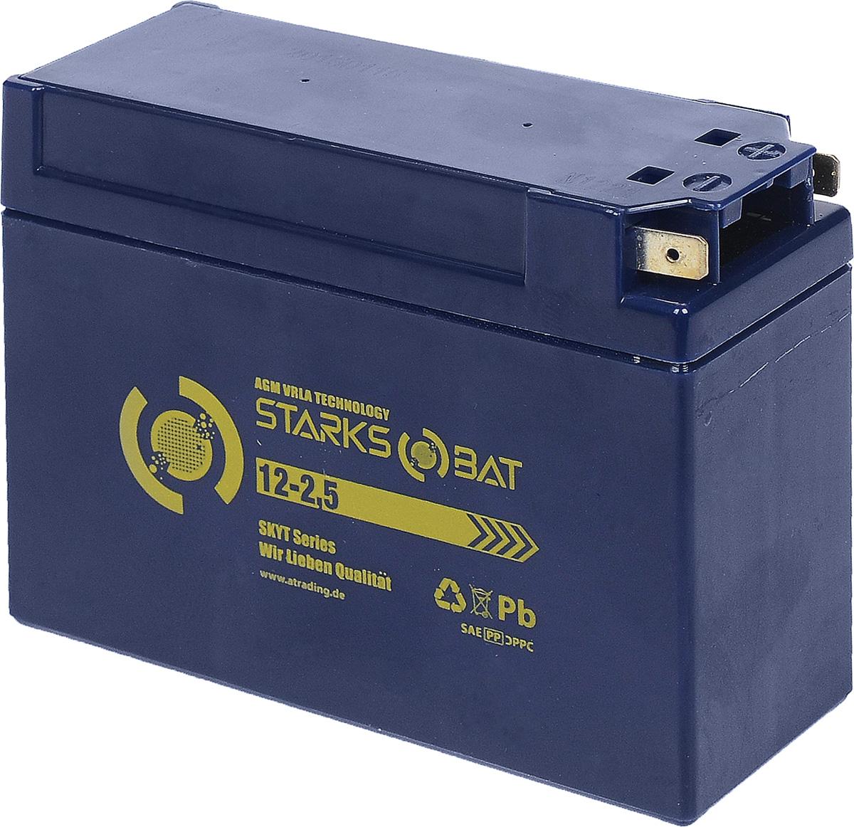Батарея аккумуляторная для мотоциклов Starksbat. YT 12-2.5 (YTX4B-BS)