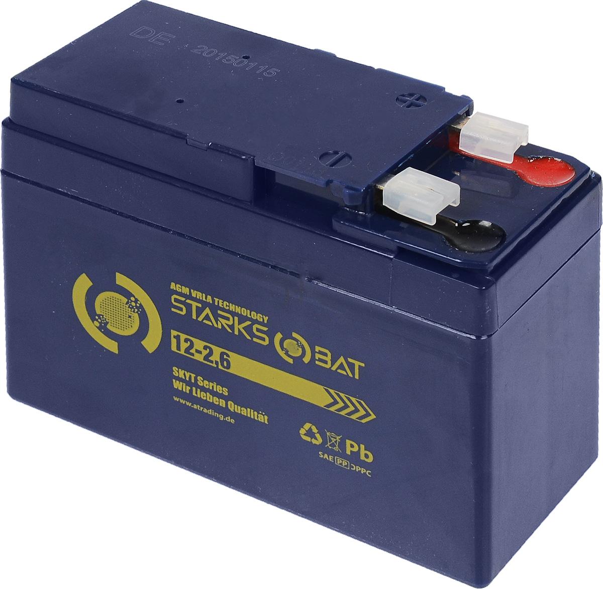 Батарея аккумуляторная для мотоциклов Starksbat. YT 12-2.6 (YTX4A-BS)