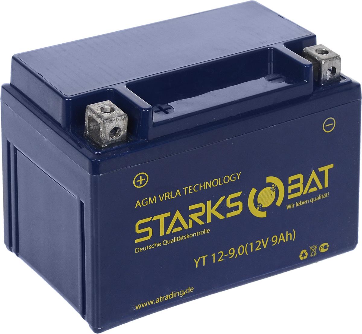 Батарея аккумуляторная для мотоциклов Starksbat. YT 12-9.0 (YTX9-BS)