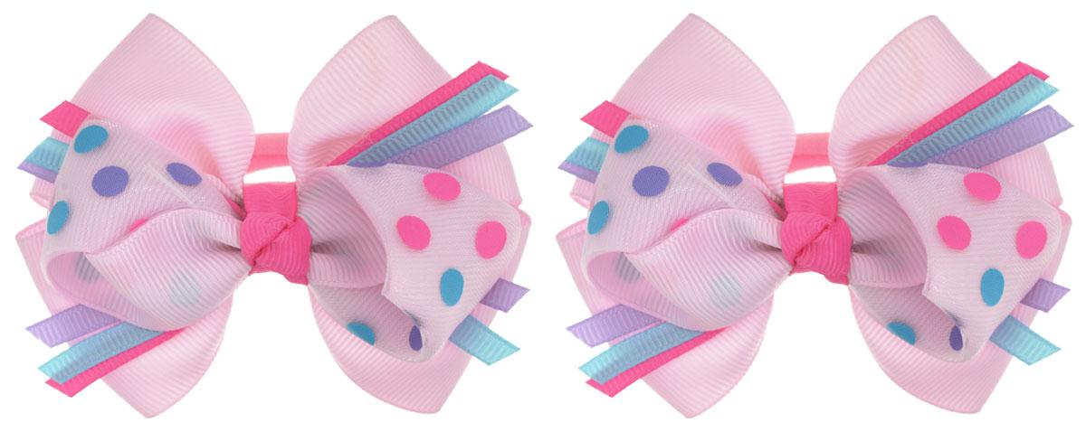 Baby's Joy Резинка для волос Бантик в горошек цвет светло-розовый 2 шт