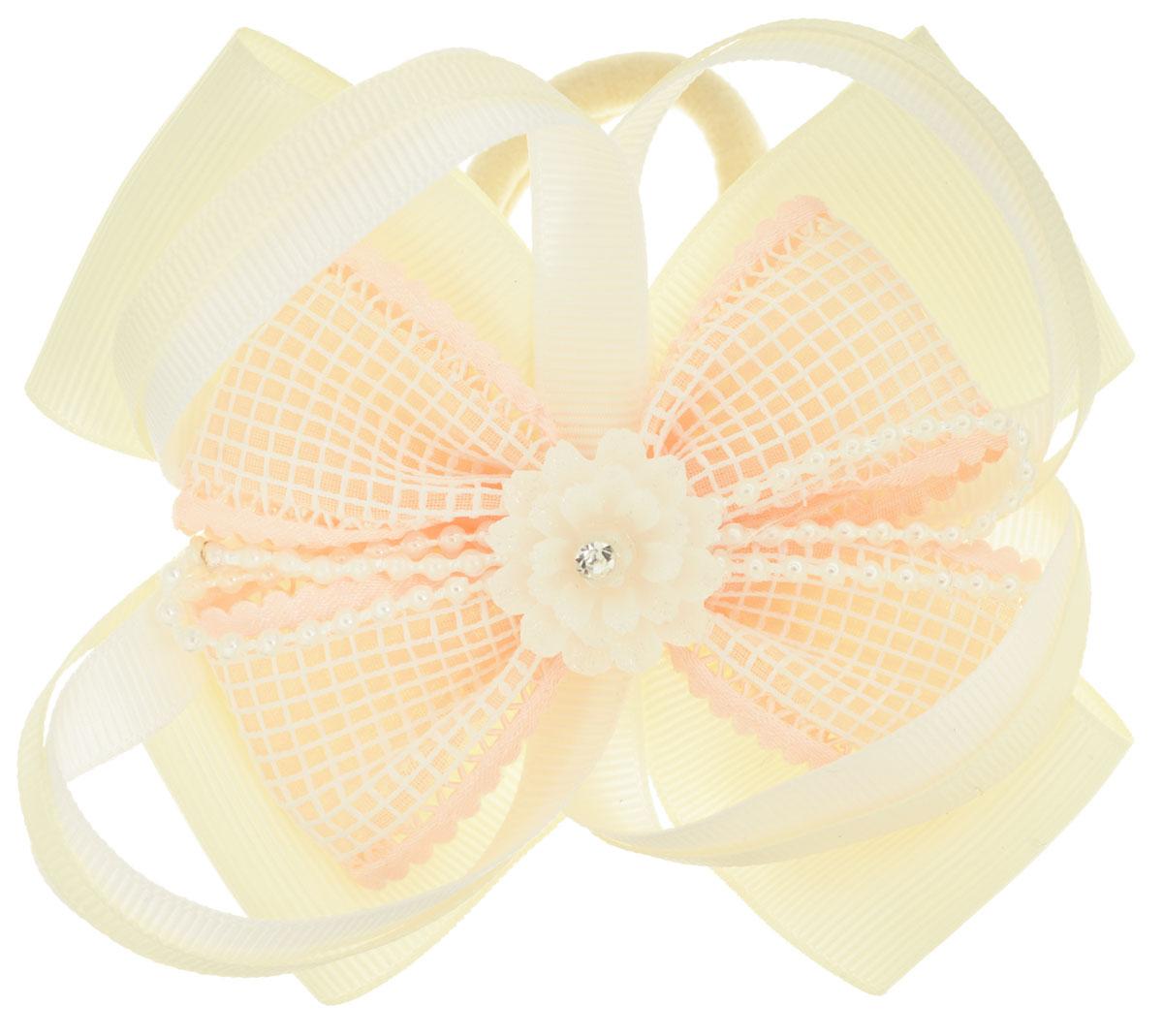 Baby's Joy Резинка для волос с цветком цвет кремовый светло-коралловый