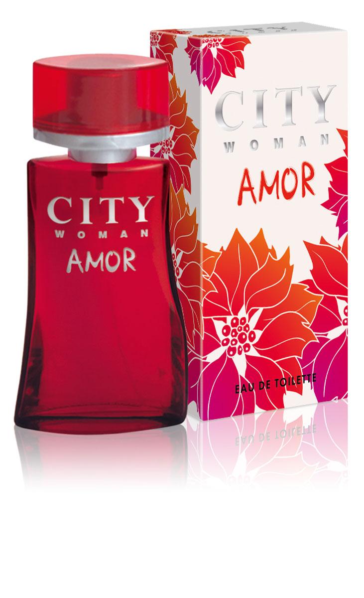 City Woman Amor. Туалетная вода, 60 мл2001006028Туалетная вода City Woman Amor - блестящее сочетание свежести грейпфрута, мандарина, черной смородины, нежности ландыша и розы на фоне амбры, ванили и мускуса. Классификация аромата: цветочный, фруктовый.