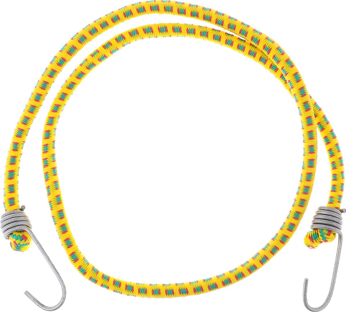 Резинка багажная МастерПроф, с крючками, цвет: желтый, красный, зеленый, 1 х 110 см. АС.020056АС.020056_желтыйБагажная резинка МастерПроф, выполненная из натурального каучука, оснащена специальными металлическими крючками, которые обеспечивают прочное крепление и не допускают смещения груза во время его перевозки. Изделие применяется для закрепления предметов к багажнику. Такая резинка позволит зафиксировать как небольшой груз, так и довольно габаритный. Температура использования: -50°C до +50°C. Безопасное удлинение: 60%. Диаметр резинки: 0,10 см. Длина резинки: 110 см.