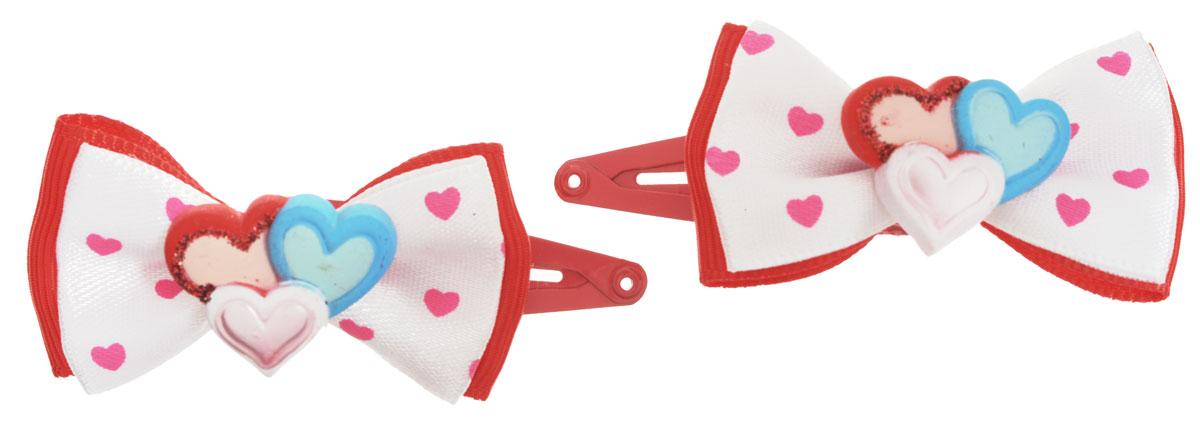 Baby's Joy Заколка для волос Три сердца цвет красный 2 шт