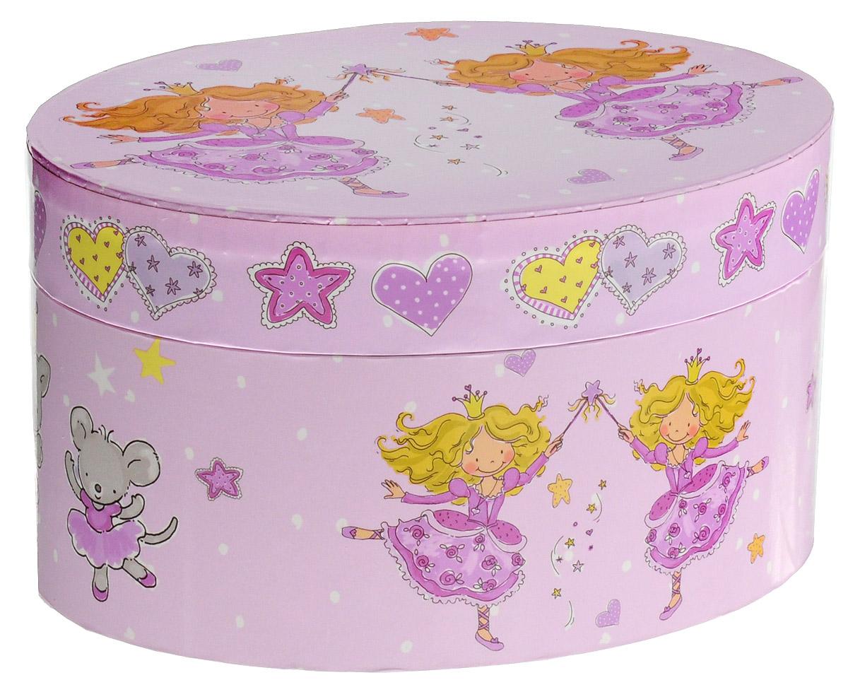 Музыкальная шкатулка Jakos Принцесса, две принцессы615000_розовый_ две принцессыМузыкальная шкатулка Принцесса непременно понравится вашей девочке! Малышка сможет хранить в ней украшения, дорогие ей мелочи и свои секреты. Шкатулка овальной формы выполнена из прочного картона с элементами из пластика и металла, и украшена милым рисунком, изображающим принцессу, угощающую своего единорога волшебными звездочками. Шкатулка оформлена в нежных пастельных тонах и прекрасно впишется в любой интерьер. Внутри шкатулки расположено зеркальце, которое пригодиться каждой маленькой моднице, и фигурка принцессы на пружинке. Если открыть крышку, фигурка начнет кружиться и зазвучит приятная нежная музыка. УВАЖАЕМЫЕ КЛИЕНТЫ! Товар поставляется в ассортименте. Поставка осуществляется в одном из приведенных вариантов в зависимости от наличия на складе.