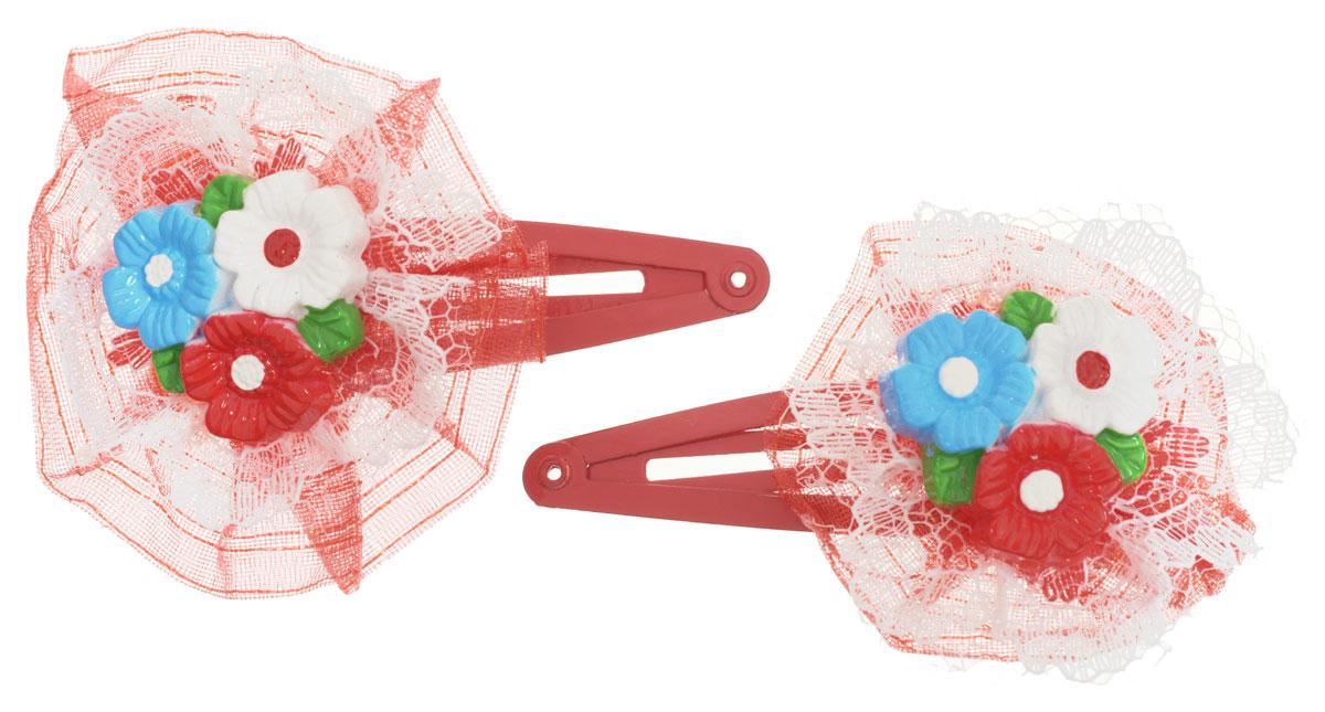 Baby's Joy Заколка для волос Цветы цвет красный 2 шт