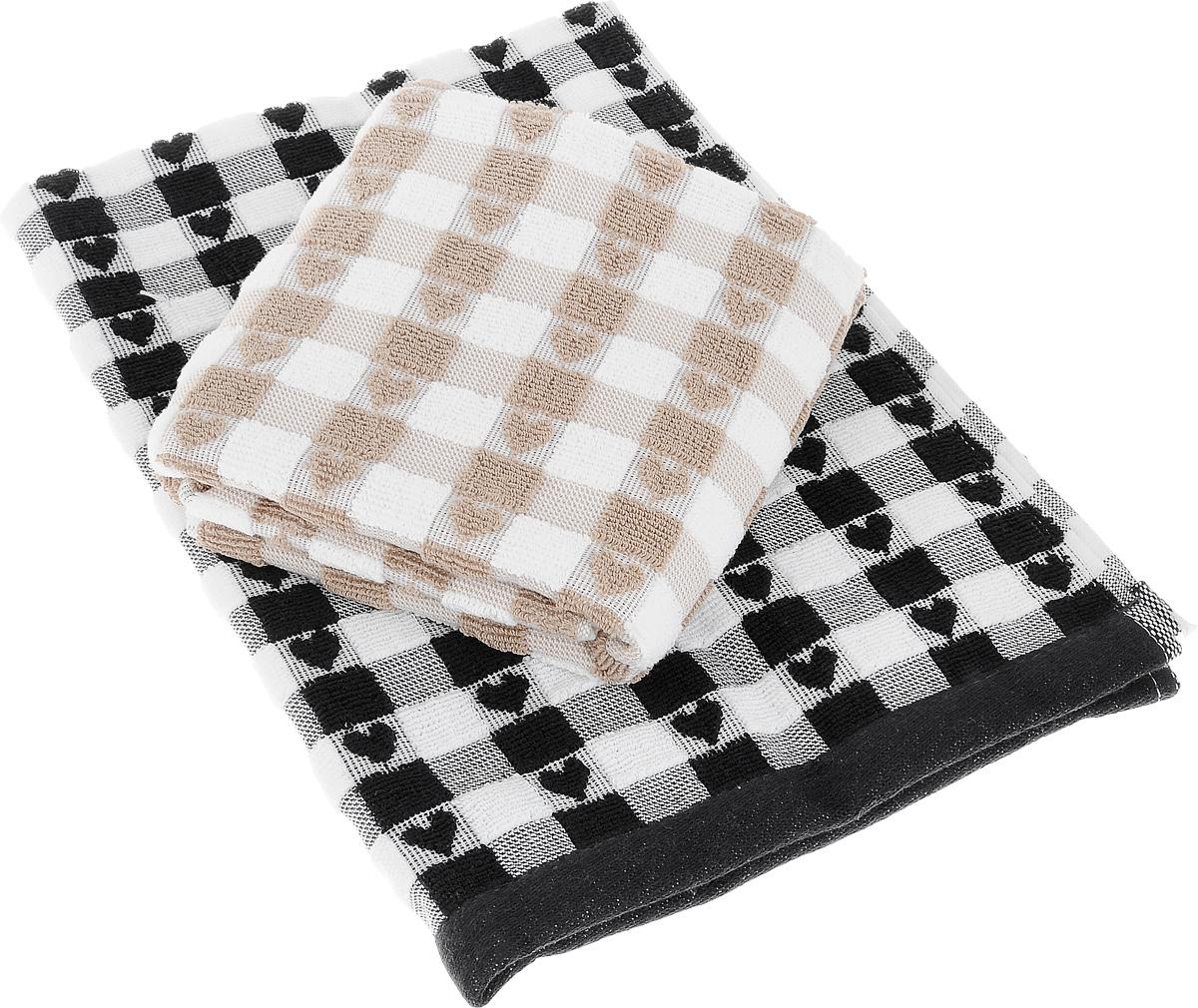 Набор кухонных полотенец Toalla Сердечки, цвет: черный, бежевый, 50 x 70 см, 2 шт00000000063Набор Toalla Сердечки состоит из двух прямоугольных полотенец, выполненных из 100% хлопка. Изделия предназначены для использования на кухне и в столовой. Набор полотенец Toalla Сердечки - отличное приобретение для каждой хозяйки. Комплектация: 2 шт.
