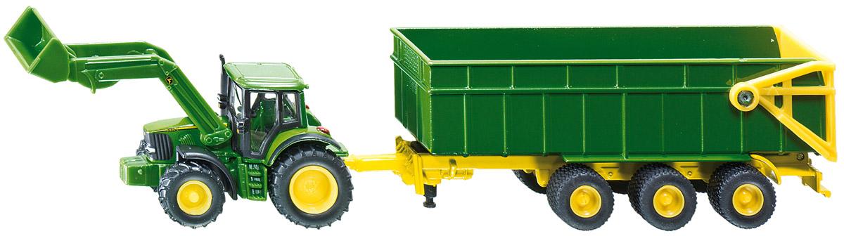 Siku Трактор John Deere с ковшом и прицепом-кузовом1843Трактор John Deere с ковшом и прицепом-кузовом Siku выполнен в масштабе 1:87. Корпус трактора выполнен из металла, кабина трактора и кузов прицепа - из пластика, колеса трактора и прицепа выполнены из резины и имеют свободный ход. Прицеп отцепляется от трактора, боковой борт кузова открывается. Тщательно проработанные детали трактора с прицепом делают этот набор максимально реалистичным и интересным для игры.