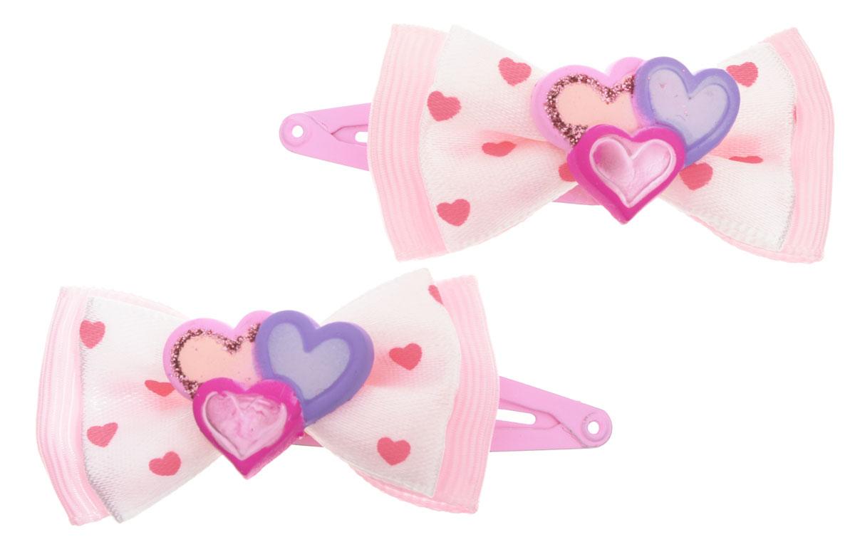 Baby's Joy Заколка для волос Три сердца цвет розовый 2 шт