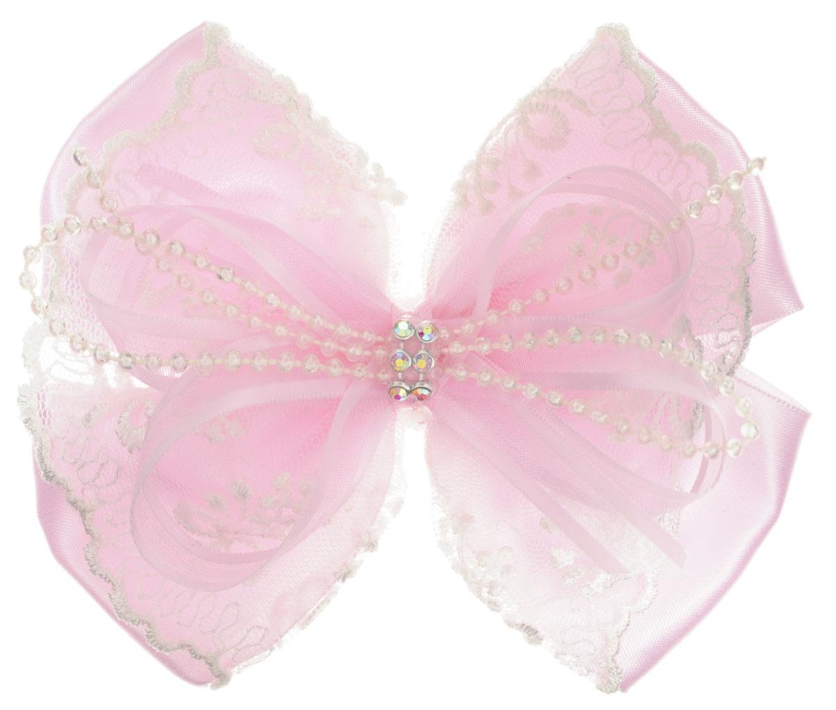 Baby's Joy Резинка для волос Бант с кружевами цвет розовый