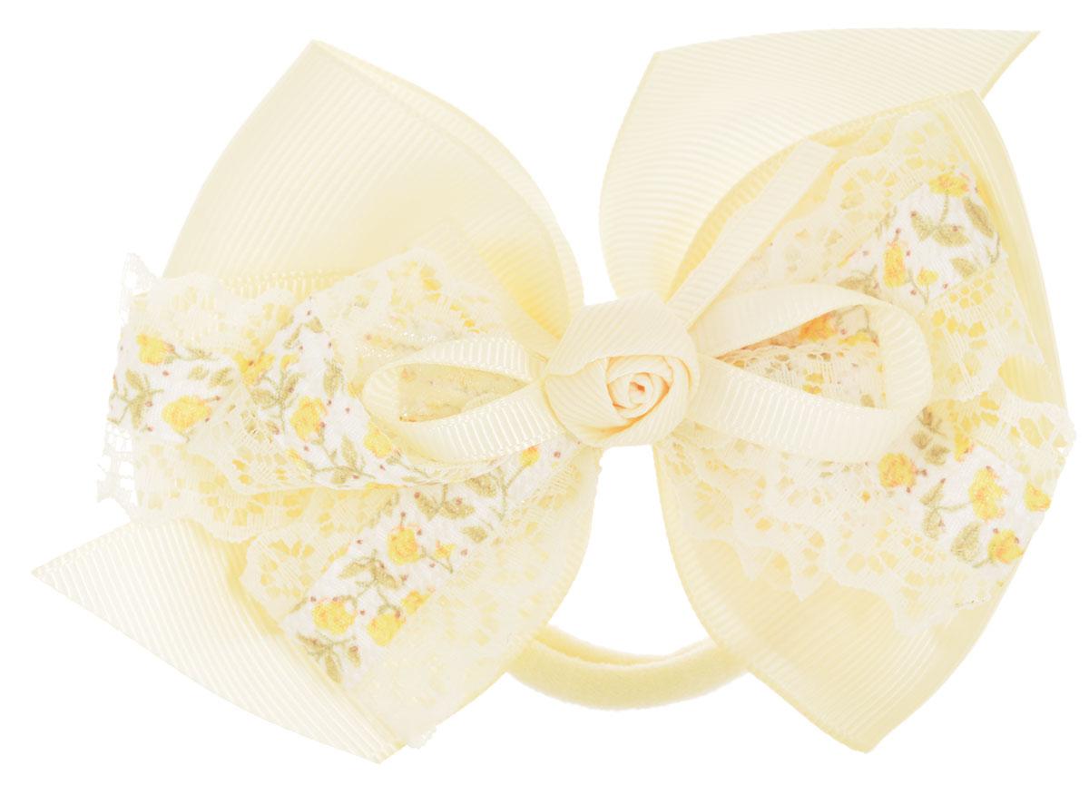 Baby's Joy Бант для волос с кружевом на резинке цвет кремовый