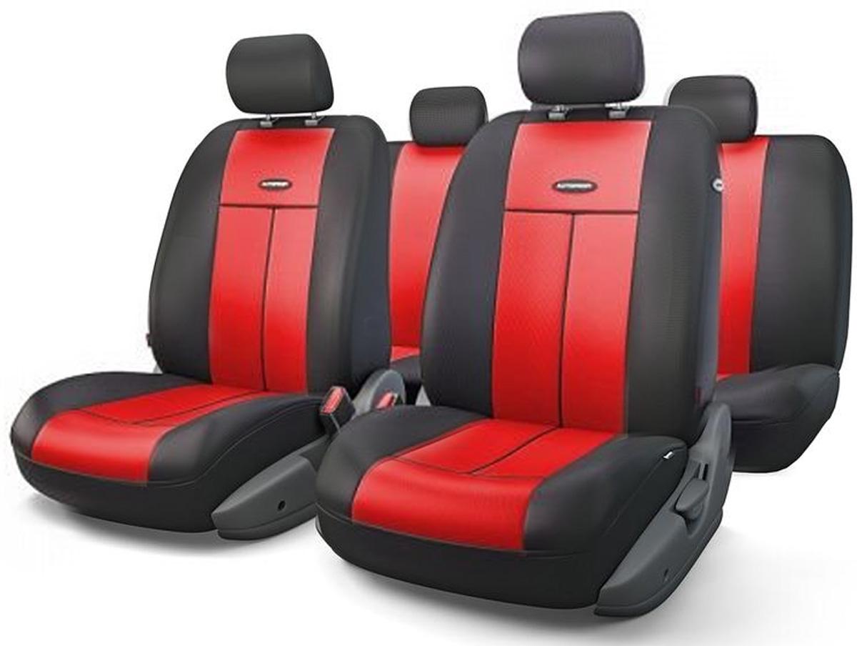 Авточехлы Autoprofi TT, цвет: черный, красный, 9 предметов. TT-902V BK/RDTT-902V BK/RDАвтомобильные чехлы Autoprofi TT изготавливаются из высококачественного полиэстера со вставками из поролона, обеспечивающего сцепление с сиденьем. Мягкие чехлы являются отличным дополнением салона любого автомобиля. Изделия придают автомобильному интерьеру современные и солидные черты. Универсальная конструкция подходит для большинства автомобильных сидений. Подходят для автомобилей с боковыми подушками безопасности (распускаемый шов). Специальные молнии, расположенные в чехлах спинки заднего ряда, позволяют использовать чехлы на автомобилях с различными пропорциями складывания заднего ряда. Комплектация: 5 подголовников, 2 чехла сидений переднего ряда, 1 спинка заднего ряда, 1 сиденье заднего ряда.