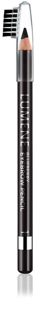 LUMENE Контурный карандаш для бровей Blueberry №1, серо-черный, 1,1 г