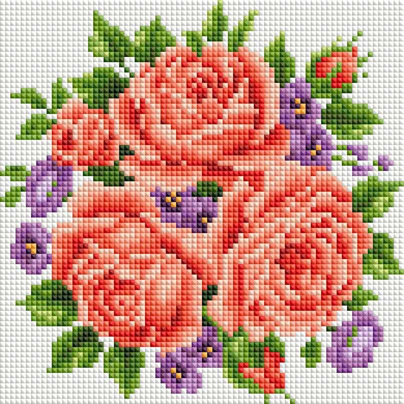 """Набор для создания мозаики Белоснежка Розы и фиалки277-ST-Sнабора для творчества """"Алмазная мозаика Основа мозаичной картины - холст на подрамнике усиленный листом оргалита. тип камней: квадратные 2,5*2,5 мм. Количество цветов: 21. 100 % заполнение. Размер готовой работы: 20*20 см."""