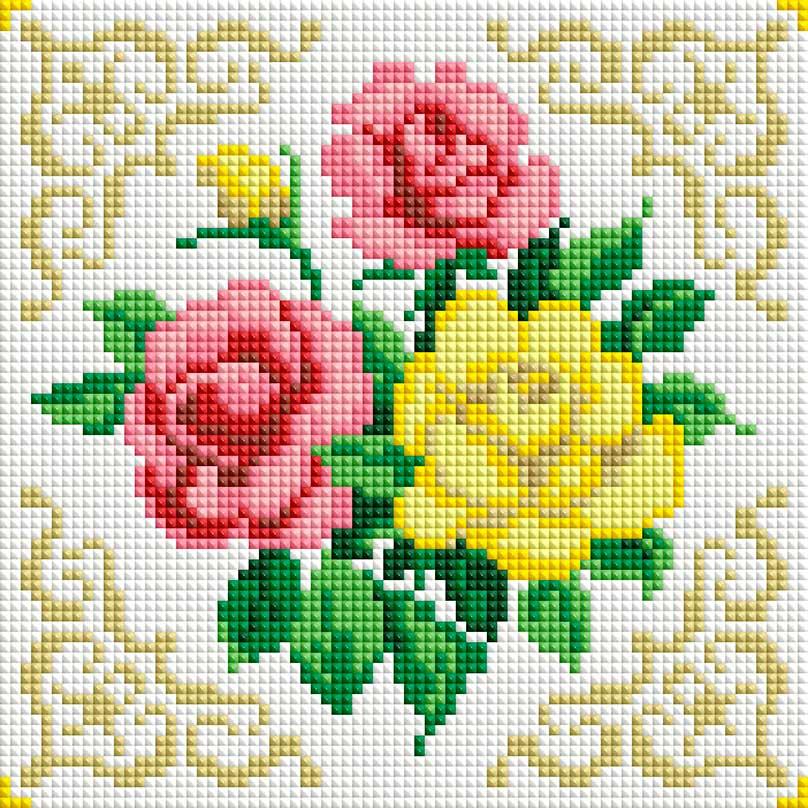 Схемы вышивки крестом цветы для подушки