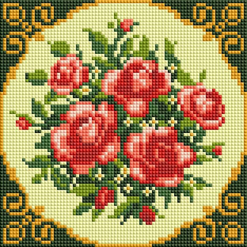 """Набор для создания мозаики Белоснежка Чайные розы281-ST-Sнабора для творчества """"Алмазная мозаика Основа мозаичной картины - холст на подрамнике усиленный листом оргалита. тип камней: квадратные 2,5*2,5 мм. Количество цветов: 10. 100 % заполнение. Размер готовой работы: 20*20 см."""