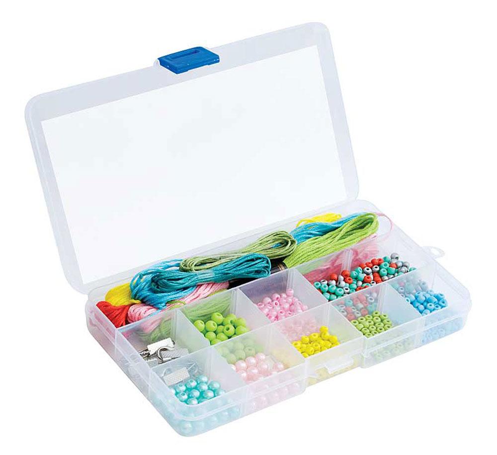 Набор для плетения Белоснежка Весёлые пятнашки292-RBНабор для плетения в органайзере. Комплектация: · Бусины большие 85 шт. · Бусины маленькие 480 шт. · Зажимы большие - 5 шт. · Замок - 3 шт. · Иголка-гвоздик - 8 шт. · Металлические кольца - 10 шт. · Мулине - 5 цветов · Шнур - 3 цвета