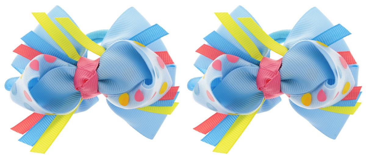 Baby's Joy Резинка для волос Бантик в горошек цвет голубой 2 шт