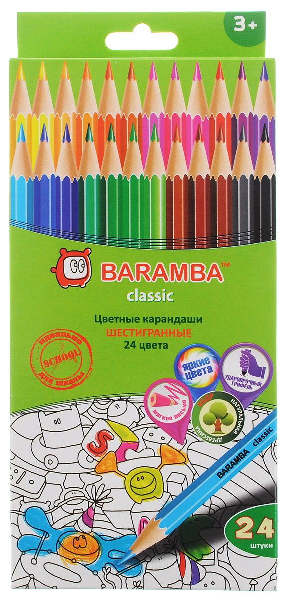 Набор цветных карандашей Baramba Classic, 24 цветаB33124Цветные карандаши Baramba Classic откроют юным художникам новые горизонты для творчества, а также помогут отлично развить мелкую моторику рук, цветовое восприятие, фантазию и воображение. Традиционный шестигранный корпус изготовлен из натуральной древесины, гладкость которого обеспечена многослойной покраской. Карандаши удобно держать в руках, а мягкий грифель не требует сильного нажима и легко стирается ластиком. Комплект включает 24 заточенных карандаша ярких насыщенных цветов. Не рекомендуется детям до 3-х лет.