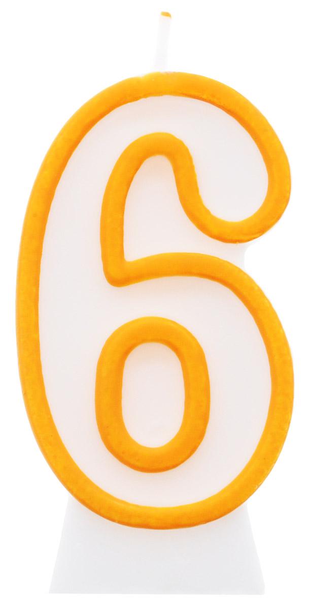 Susy Card Свеча-цифра для торта 6 лет цвет желтый11142627Свеча-цифра для торта Susy Card выполнена в виде цифры 6 из белого парафина с желтым контуром по краям. Свеча-цифра создает неповторимую атмосферу праздника и прекрасно вписывается в любой интерьер. Свеча для торта - отличный способ порадовать ребенка в его День рождения или любое другое торжество.
