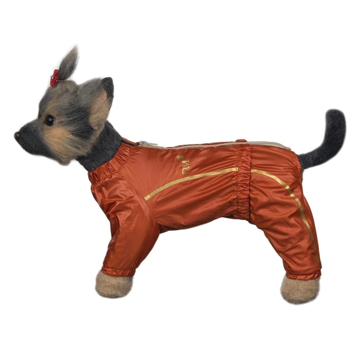 Комбинезон для собак Dogmoda Альпы, для девочки, цвет: оранжевый. Размер 4 (XL)DM-160100-4_оранжКомбинезон для собак Dogmoda Альпы отлично подойдет для прогулок поздней осенью или ранней весной. Комбинезон изготовлен из полиэстера, защищающего от ветра и осадков, с подкладкой из флиса, которая сохранит тепло и обеспечит отличный воздухообмен. Комбинезон застегивается на молнию и липучку, благодаря чему его легко надевать и снимать. Ворот, низ рукавов и брючин оснащены внутренними резинками, которые мягко обхватывают шею и лапки, не позволяя просачиваться холодному воздуху. На пояснице имеется внутренняя резинка. Изделие декорировано золотистыми полосками и надписью DM. Благодаря такому комбинезону простуда не грозит вашему питомцу и он не даст любимцу продрогнуть на прогулке. Длина по спинке: 32 см. Объем груди: 52 см. Обхват шеи: 33 см.