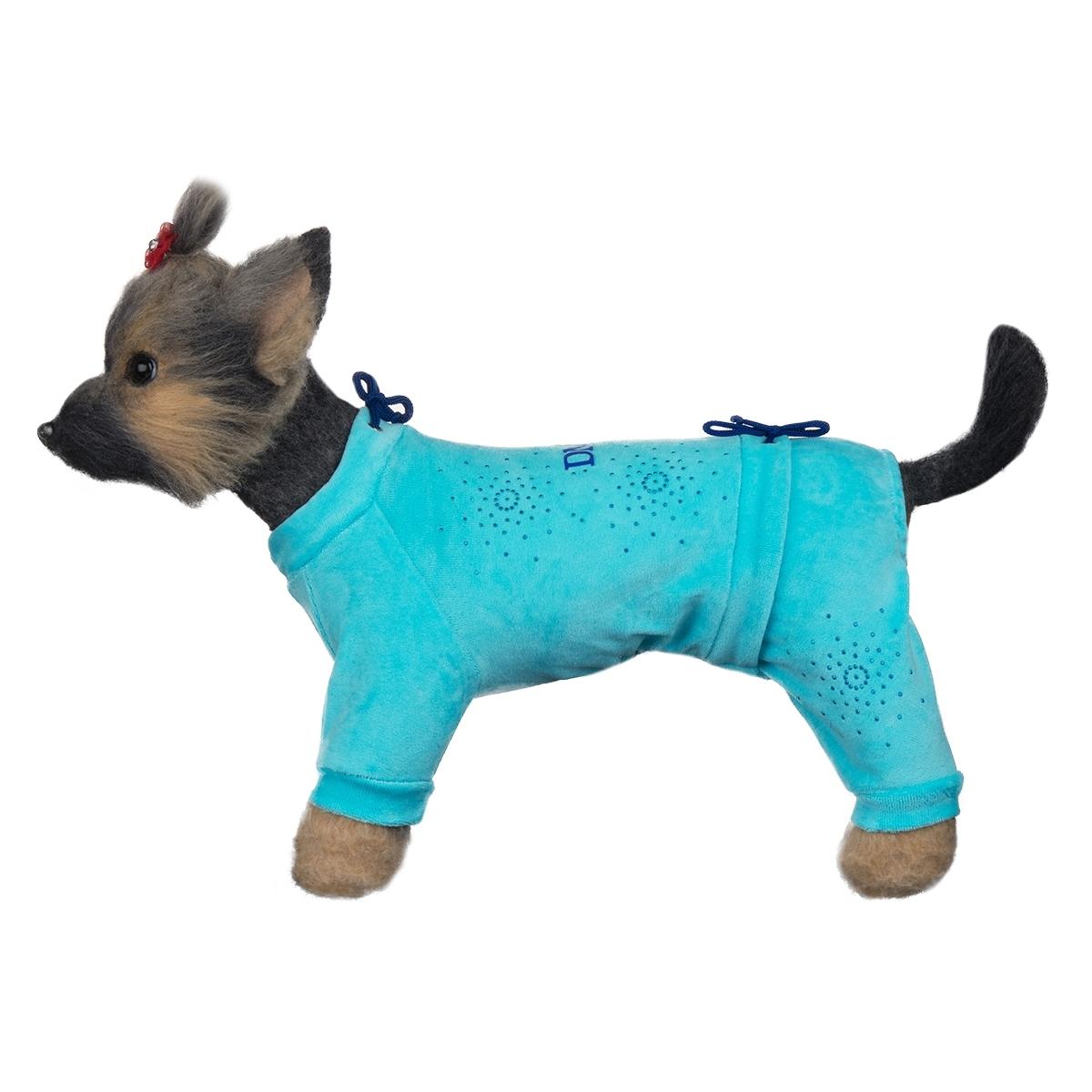 Dogmoda Комбинезон для собак велюровый Галактика-4 (голубой)DM-160107-4Красивый и уютный велюровый комбинезон модного цвета, украшен стразами. Две затяжки - на шее и животе, позволят этому комбинезону идеально сидеть на собаке любого телосложения.