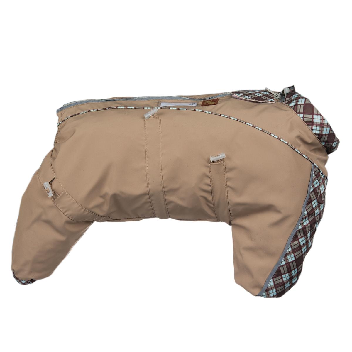 Комбинезон для собак Dogmoda Doggs, для девочки, цвет: бежевый. Размер XXХLDM-140555_бежевыйКомбинезон для собак Dogmoda Doggs отлично подойдет для прогулок в прохладную погоду. Комбинезон изготовлен из полиэстера, защищающего от ветра и осадков, а на подкладке используется вискоза, которая обеспечивает отличный воздухообмен. Комбинезон застегивается на молнию и липучку, благодаря чему его легко надевать и снимать. Молния снабжена светоотражающими элементами. Низ рукавов и брючин оснащен внутренними резинками, которые мягко обхватывают лапки, не позволяя просачиваться холодному воздуху. На вороте, пояснице и лапках комбинезон затягивается на шнурок-кулиску с затяжкой. Благодаря такому комбинезону простуда не грозит вашему питомцу. Длина по спинке: 70 см. Объем груди: 108 см. Обхват шеи: 77 см.