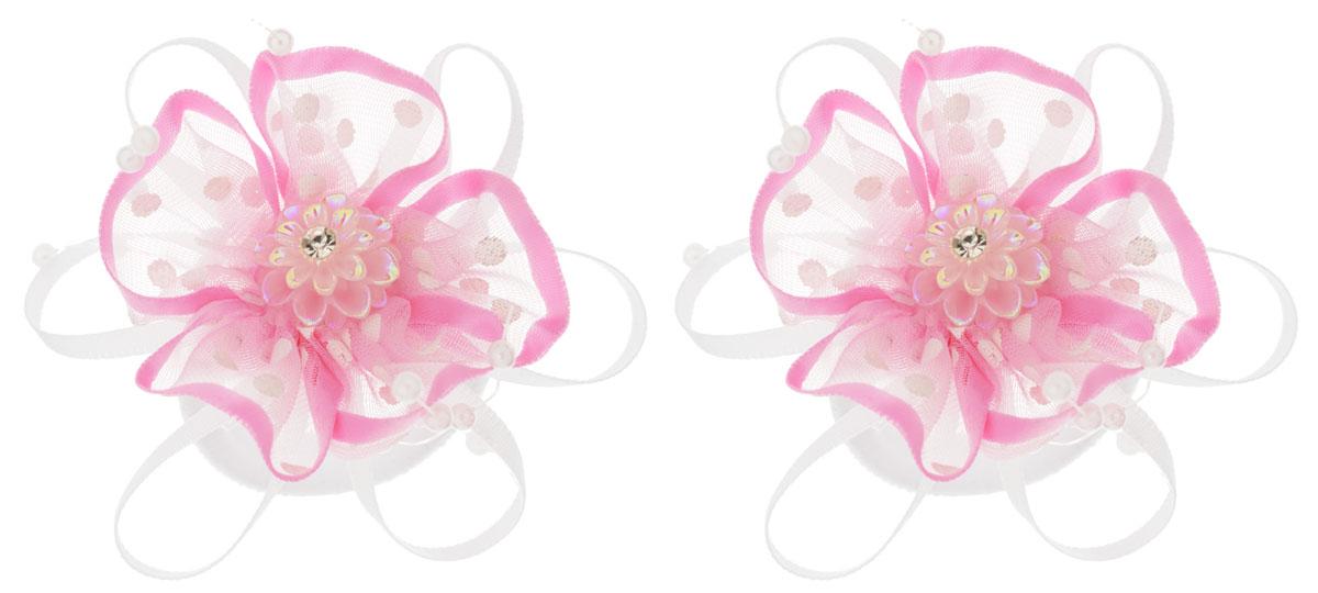 Baby's Joy Резинка для волос Цветок цвет розовый белый 2 шт