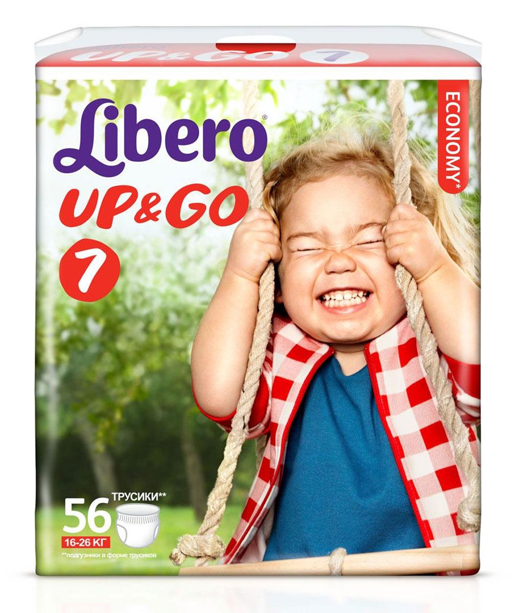 Libero Подгузники-трусики Up&Go (16-26 кг) 56 шт5524Подгузники-трусики Libero Up&Go, выполненные из тонкого супермягкого материала, сидят как настоящие детские трусики и заботятся о сухости и комфорте вашего малыша. Преимущества подгузников-трусиков Libero Up&Go: позволяют коже дышать, при этом хорошо впитывают; эластичный удобный поясок; не содержат лосьонов; легко и быстро надеваются и снимаются при разрывании боковых швов; клеящая лента позволяет с легкостью свернуть подгузник после использования; в упаковке 5 разных дизайнов трусиков.