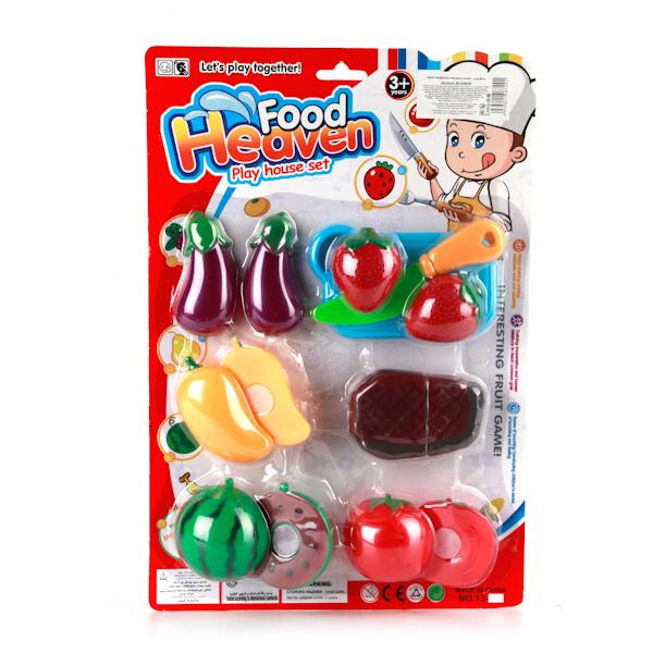 Plastic Toy Игровой набор продуктовB1325528С набором фруктов и овощей малышка сможет приготовить обед, ужин или легкую закуску к полднику. Все, как она пожелает! В наборе есть фрукты, овощи и безопасный нож, которым все это нужно нарезать. Помогите малышке приготовить ее первое блюдо, и когда она подрастет, она сможет помогать вам на кухне сама.