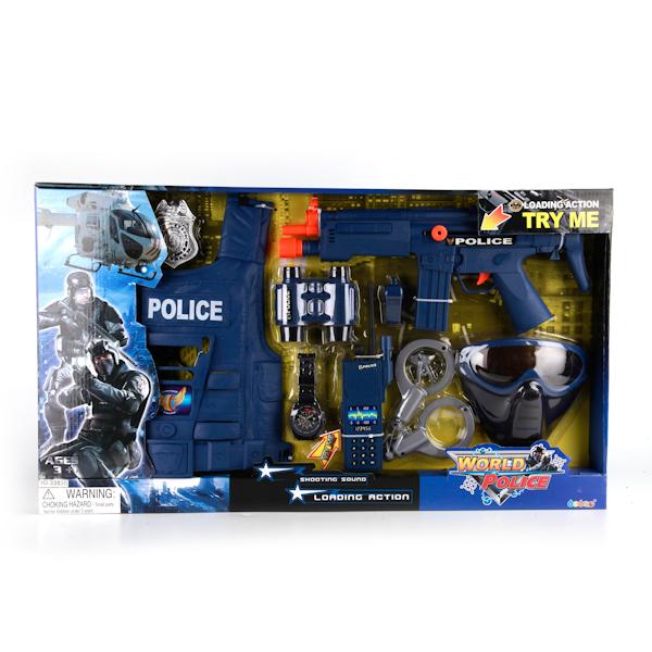 Plastic Toy Игровой набор Полиция B835-H16014B835-H16014Игровой полицейский набор включает самые необходимые атрибуты блюстителя порядка. У настоящего полицейского обязательно есть оружие — револьвер, а также дополнительные аксессуары — наручники и значок отличия, граната, часы и рация. Комплект выполнен из качественного пластика.