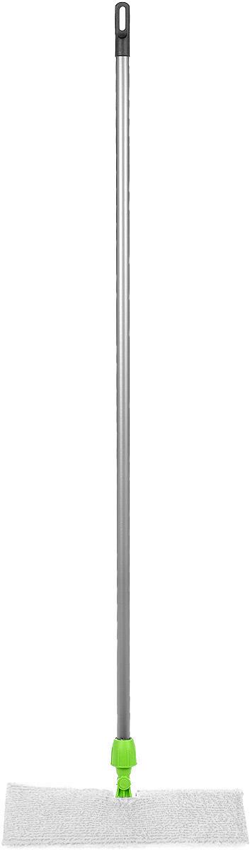 Швабра Мир чистоты Дуо, цвет: серый, салатовый, белый, длина 118 смEK013Швабра Мир чистоты Дуо идеально подходит для всех типов напольных поверхностей (плитки, паркета, ламината и камня). Подвижная насадка, выполненная из пластика, оснащена двусторонней накладкой из микрофибры. Изделие используется для сухой и влажной уборки. Швабра оснащена черенком, изготовленным из стали и специальным отверстием для подвешивания. Швабра Мир чистоты Дуо обеспечивает высокое качество уборки без применения особых усилий. Длина швабры: 118 см. Размер насадки: 37,5 х 15 х 1,5 см.