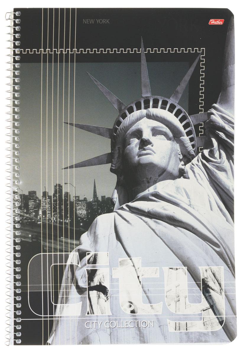 Hatber Тетрадь City Collection New York 80 листов в клетку80Т4вмB1сп_ParisТетрадь Hatber City Collection. New York отлично подойдет для занятий как школьнику старших классов, так и студенту. Стильная обложка в серых тонах с изображением статуи Свободы, выполненная из плотного мелованного картона, позволит сохранить тетрадь в аккуратном состоянии на протяжении всего времени использования. Внутренний блок тетради, соединенный металлической спиралью, состоит из 80 листов белой бумаги в голубую клетку без полей.