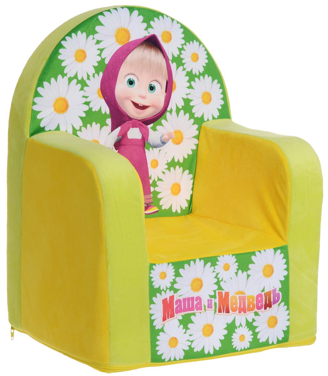 СмолТойс Мягкая игрушка Кресло Маша и Медведь цвет желтый 54 см